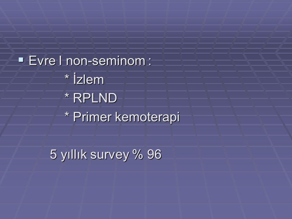 Evre I non-seminom : * İzlem * RPLND * Primer kemoterapi 5 yıllık survey % 96