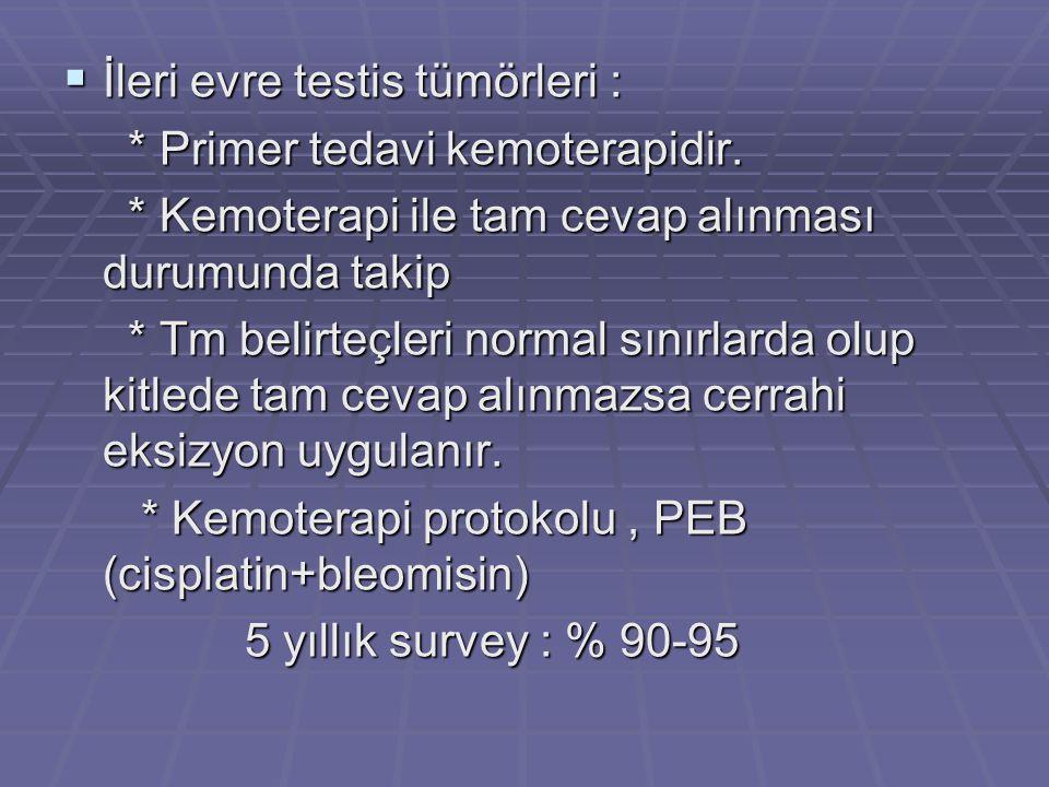 İleri evre testis tümörleri :