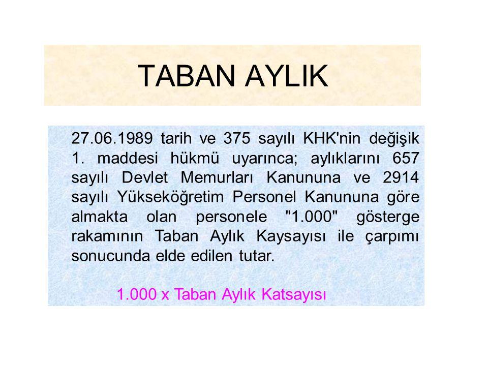 TABAN AYLIK 1.000 x Taban Aylık Katsayısı