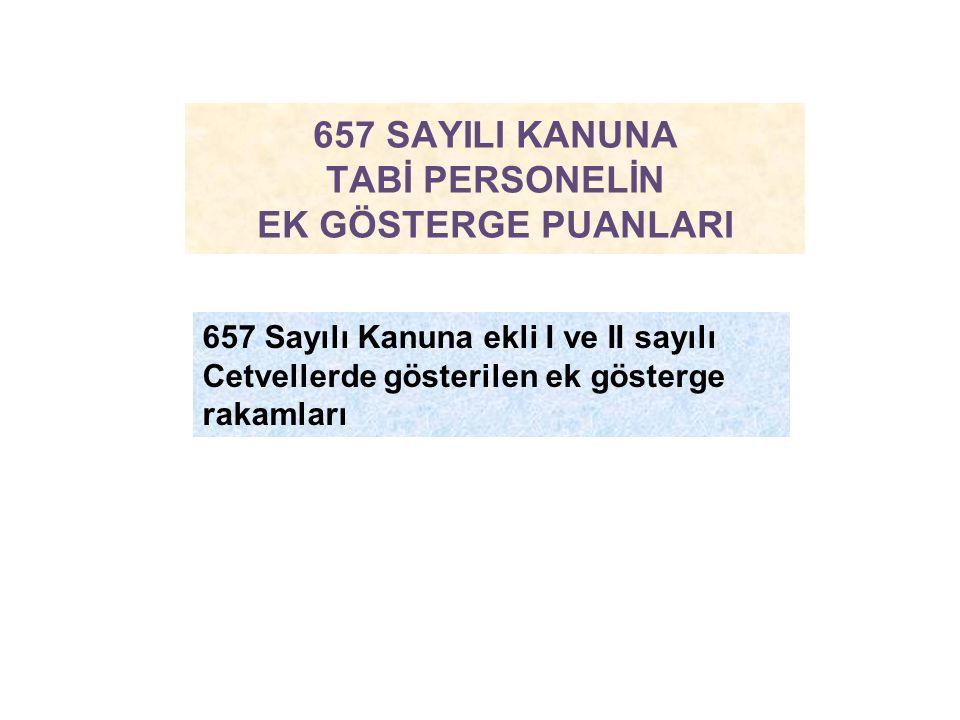 657 SAYILI KANUNA TABİ PERSONELİN EK GÖSTERGE PUANLARI