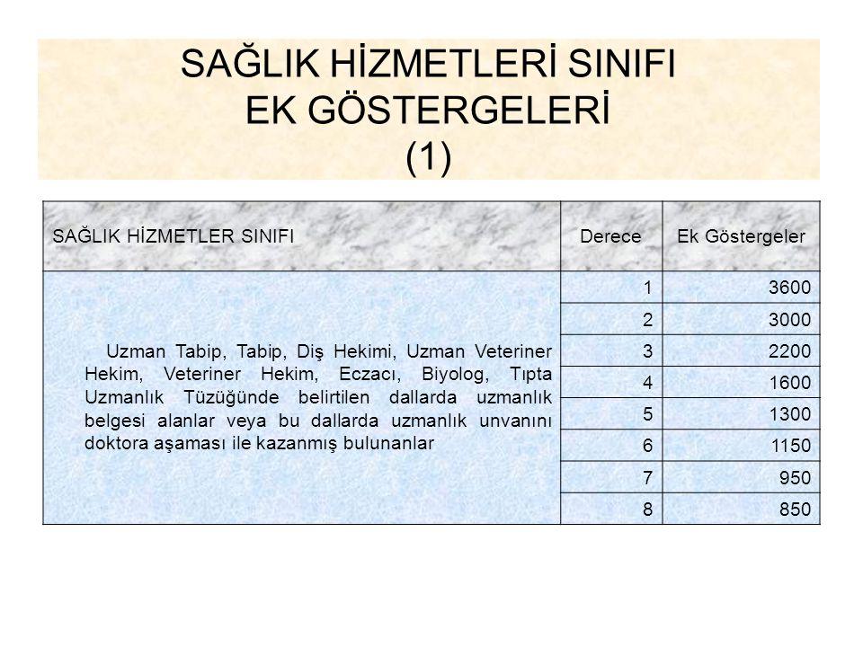 SAĞLIK HİZMETLERİ SINIFI EK GÖSTERGELERİ (1)