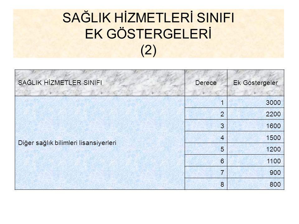 SAĞLIK HİZMETLERİ SINIFI EK GÖSTERGELERİ (2)