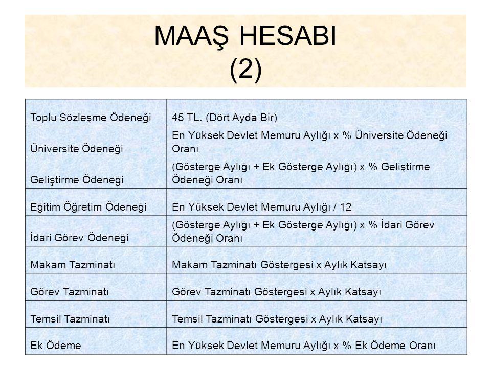 MAAŞ HESABI (2) Toplu Sözleşme Ödeneği 45 TL. (Dört Ayda Bir)