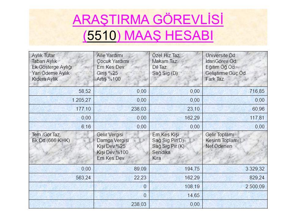 ARAŞTIRMA GÖREVLİSİ (5510) MAAŞ HESABI