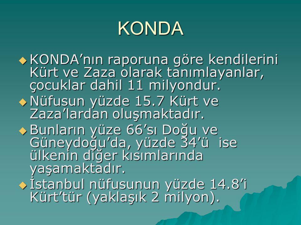 KONDA KONDA'nın raporuna göre kendilerini Kürt ve Zaza olarak tanımlayanlar, çocuklar dahil 11 milyondur.