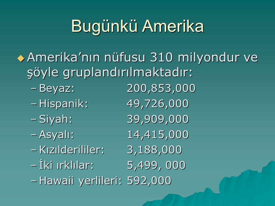 Bugünkü Amerika Amerika'nın nüfusu 310 milyondur ve şöyle gruplandırılmaktadır: Beyaz: 200,853,000.