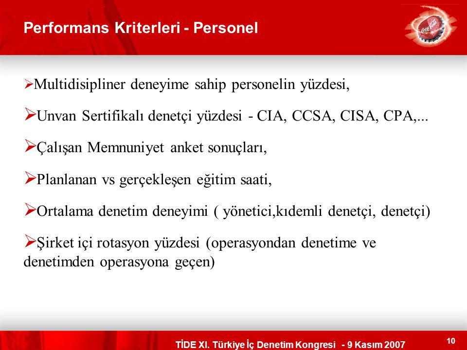 Performans Kriterleri - Personel