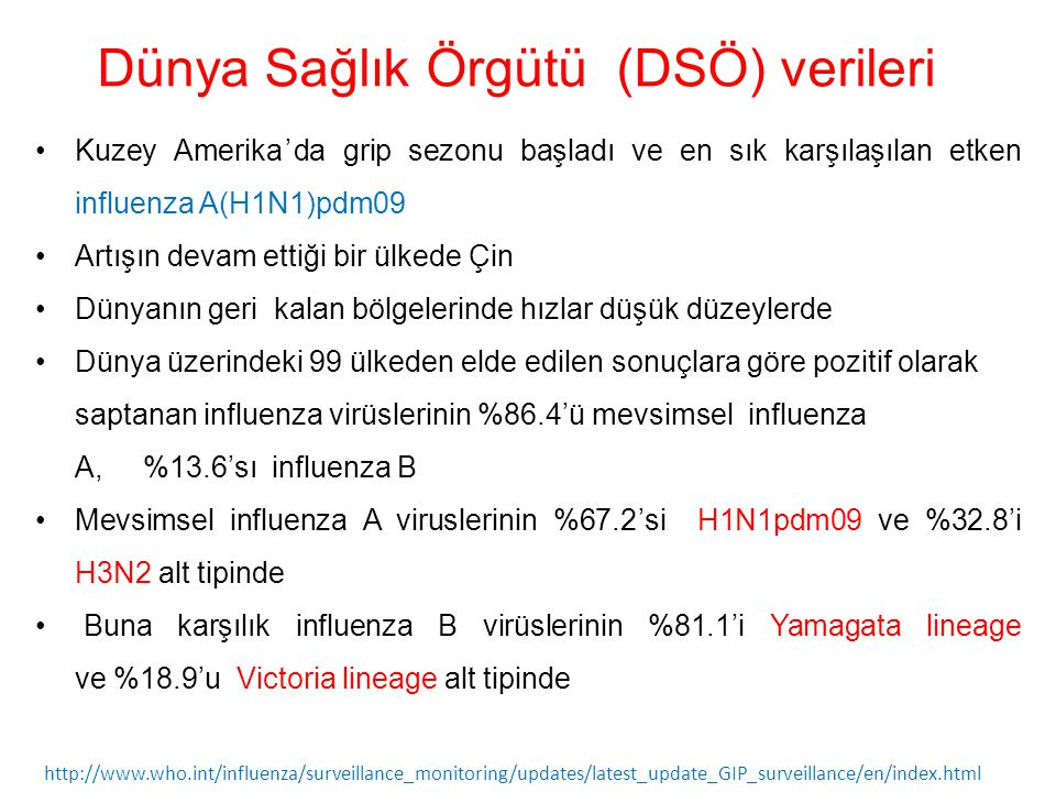 Dünya Sağlık Örgütü (DSÖ) verileri