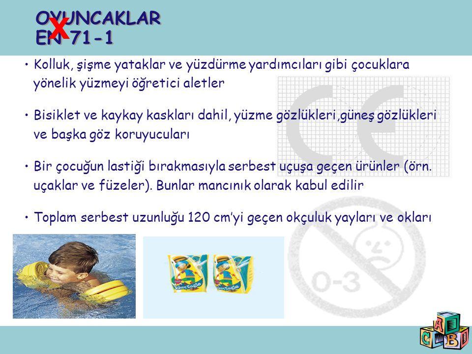 OYUNCAKLAR EN 71-1 X. Kolluk, şişme yataklar ve yüzdürme yardımcıları gibi çocuklara yönelik yüzmeyi öğretici aletler.