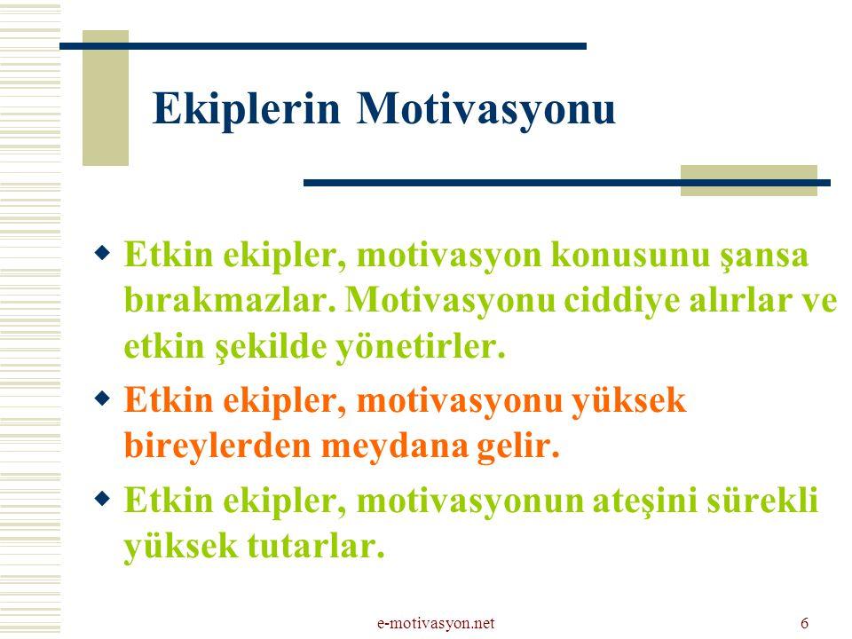 Ekiplerin Motivasyonu