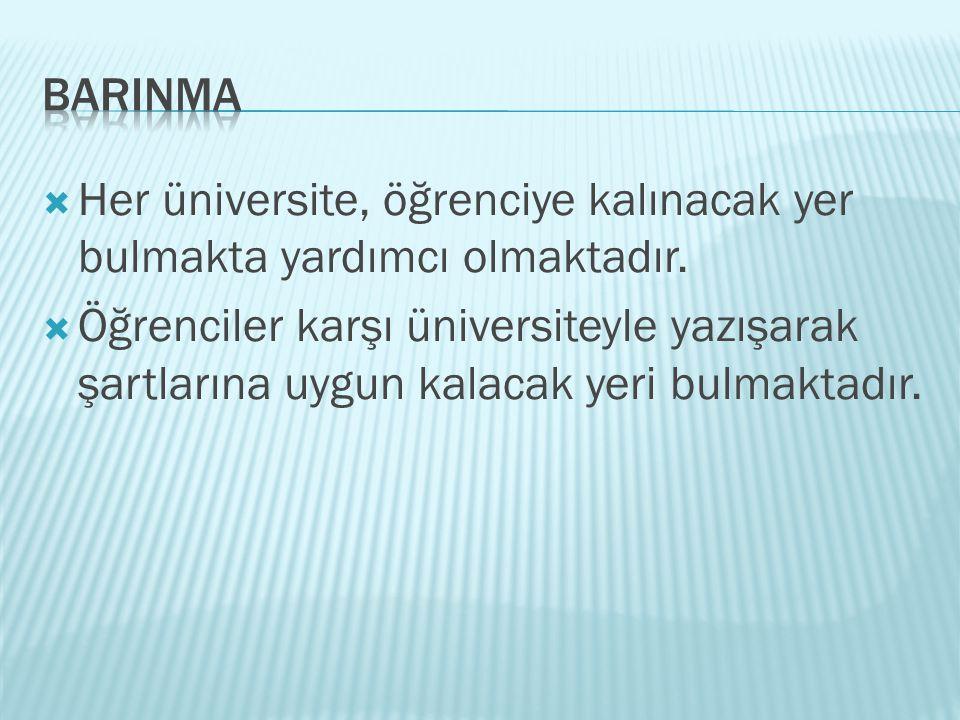 BARINMA Her üniversite, öğrenciye kalınacak yer bulmakta yardımcı olmaktadır.