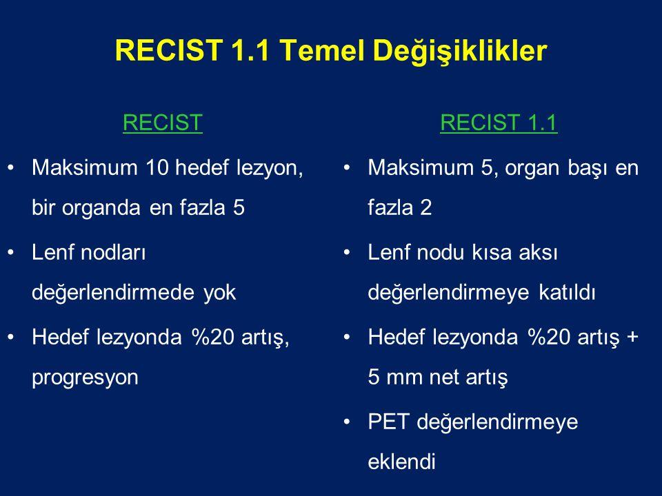 RECIST 1.1 Temel Değişiklikler