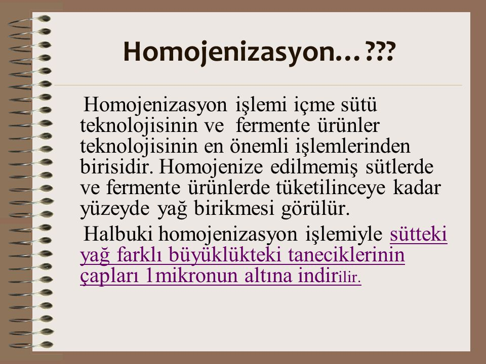 Homojenizasyon…