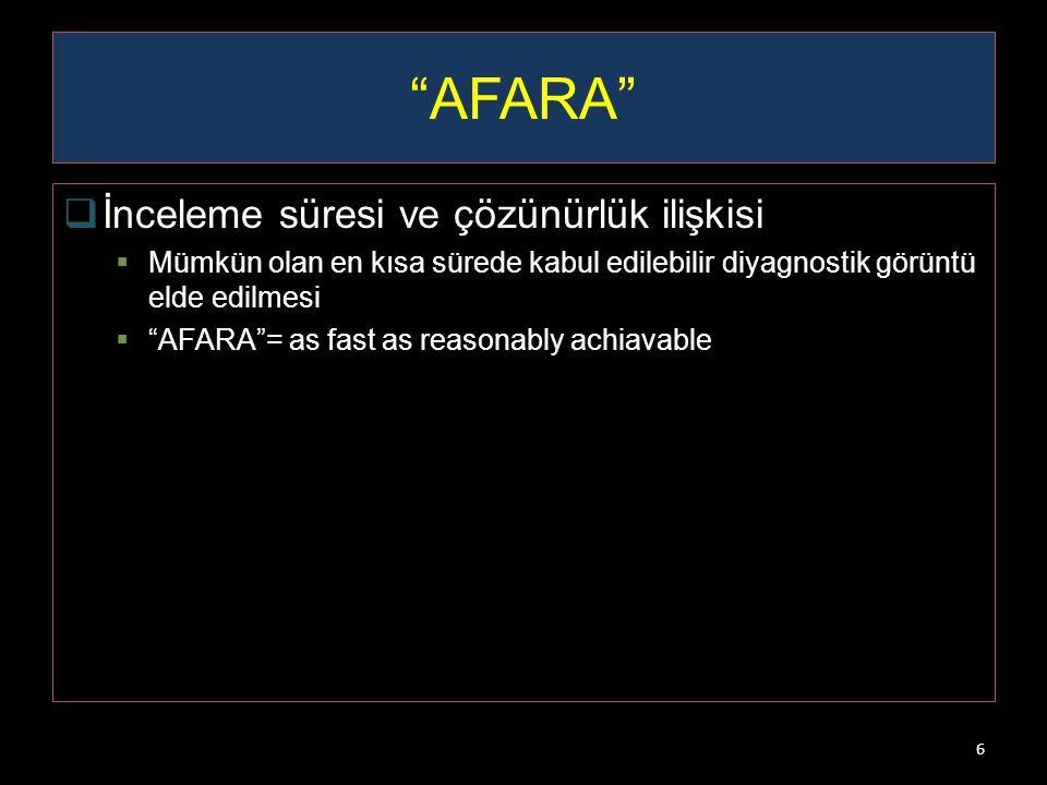 AFARA İnceleme süresi ve çözünürlük ilişkisi