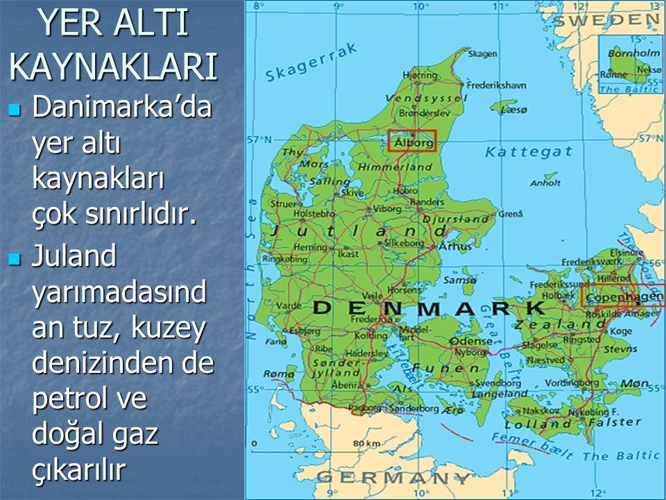 YER ALTI KAYNAKLARI Danimarka'da yer altı kaynakları çok sınırlıdır.