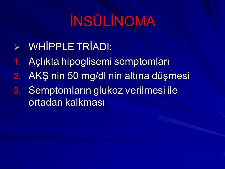 İNSÜLİNOMA WHİPPLE TRİADI: Açlıkta hipoglisemi semptomları