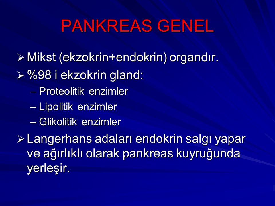 PANKREAS GENEL Mikst (ekzokrin+endokrin) organdır.