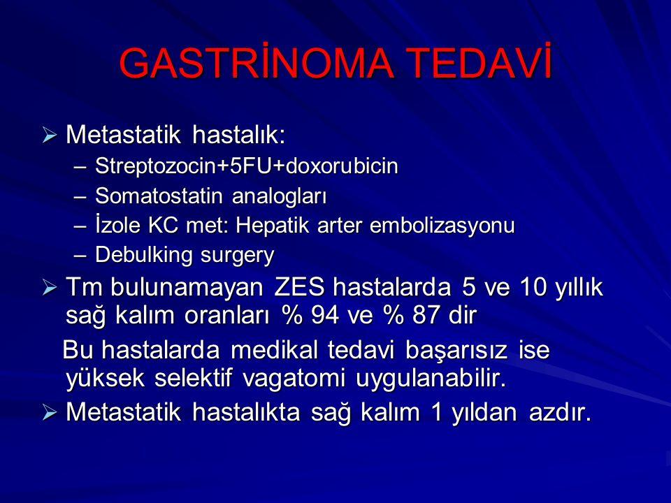 GASTRİNOMA TEDAVİ Metastatik hastalık: