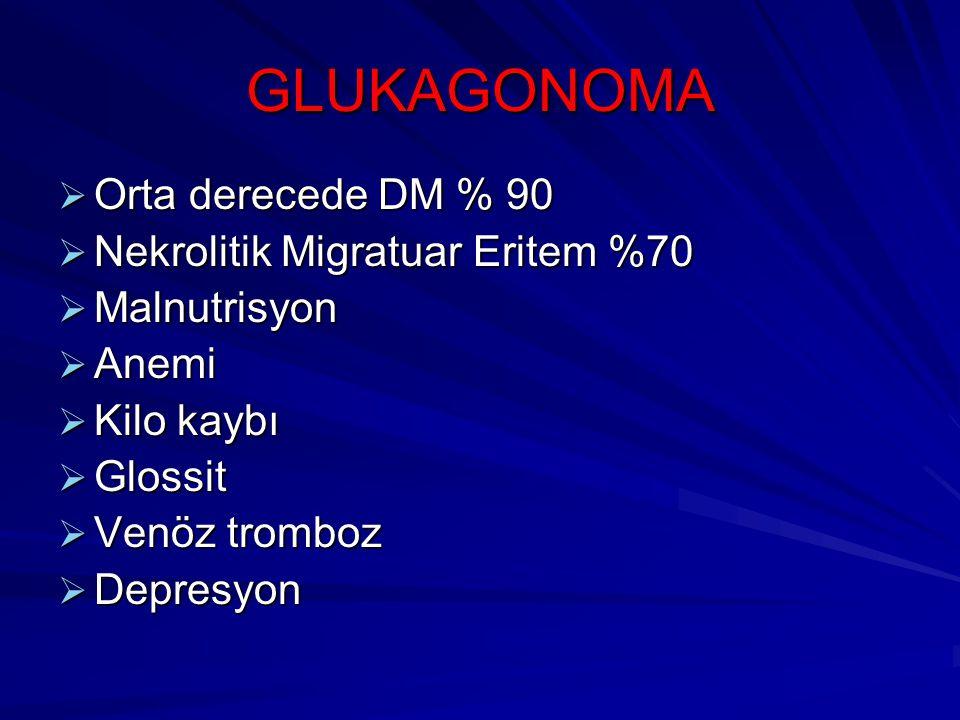 GLUKAGONOMA Orta derecede DM % 90 Nekrolitik Migratuar Eritem %70
