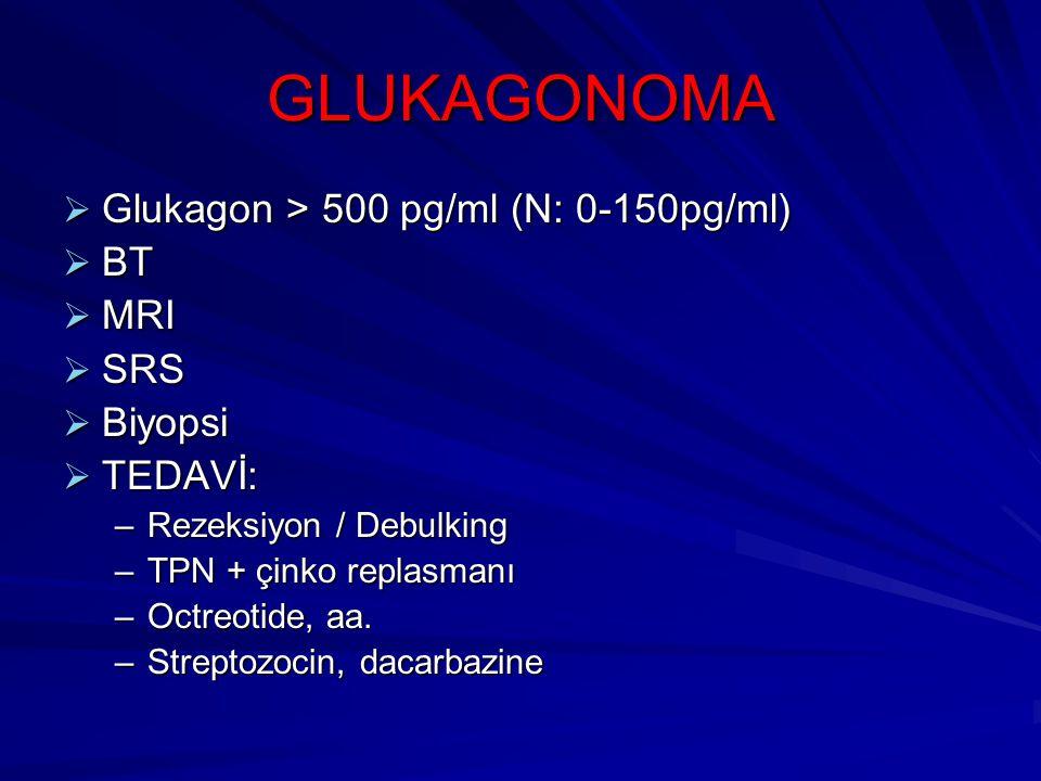 GLUKAGONOMA Glukagon > 500 pg/ml (N: 0-150pg/ml) BT MRI SRS Biyopsi