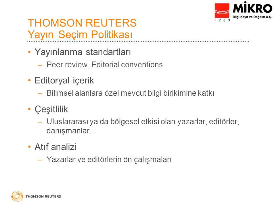 THOMSON REUTERS Yayın Seçim Politikası
