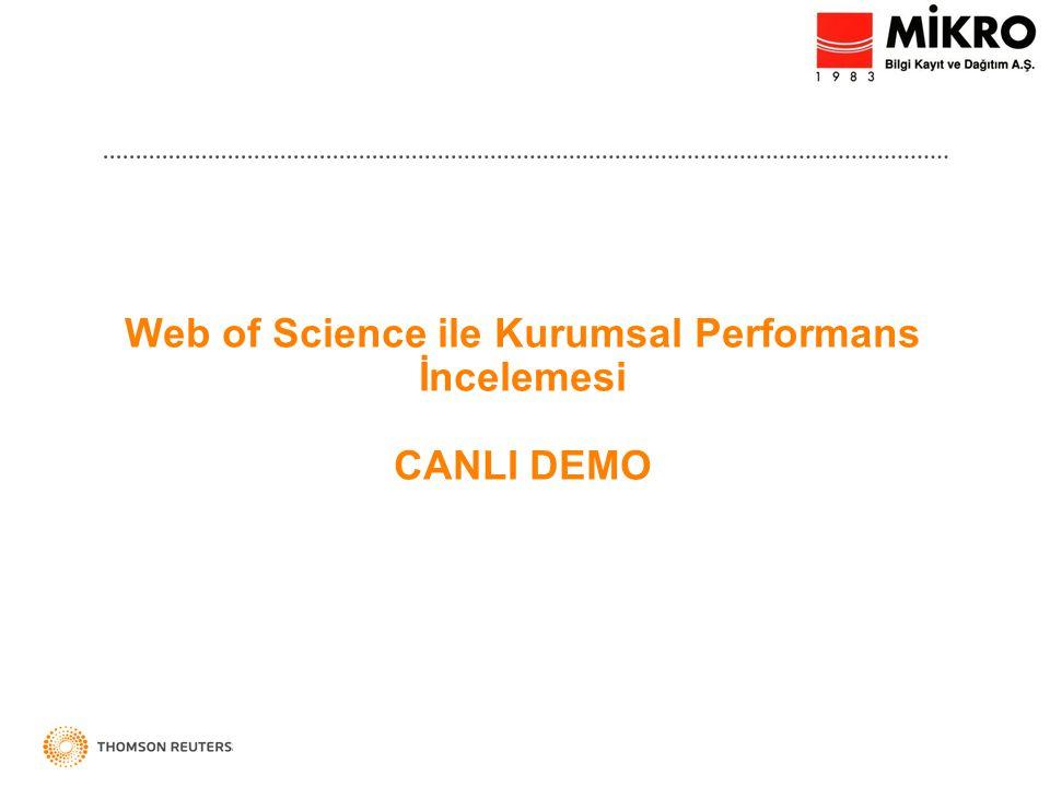 Web of Science ile Kurumsal Performans İncelemesi CANLI DEMO