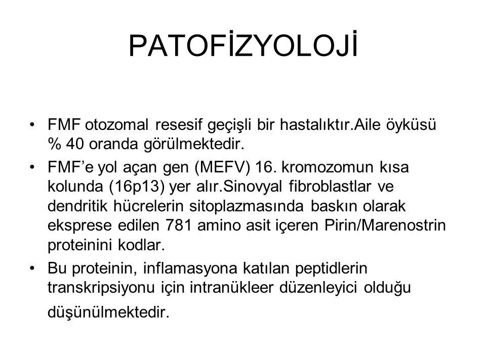 PATOFİZYOLOJİ FMF otozomal resesif geçişli bir hastalıktır.Aile öyküsü % 40 oranda görülmektedir.