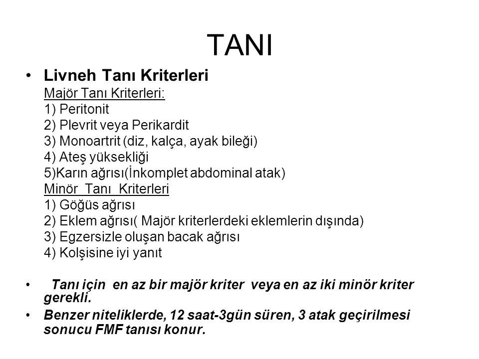 TANI Livneh Tanı Kriterleri Majör Tanı Kriterleri: 1) Peritonit