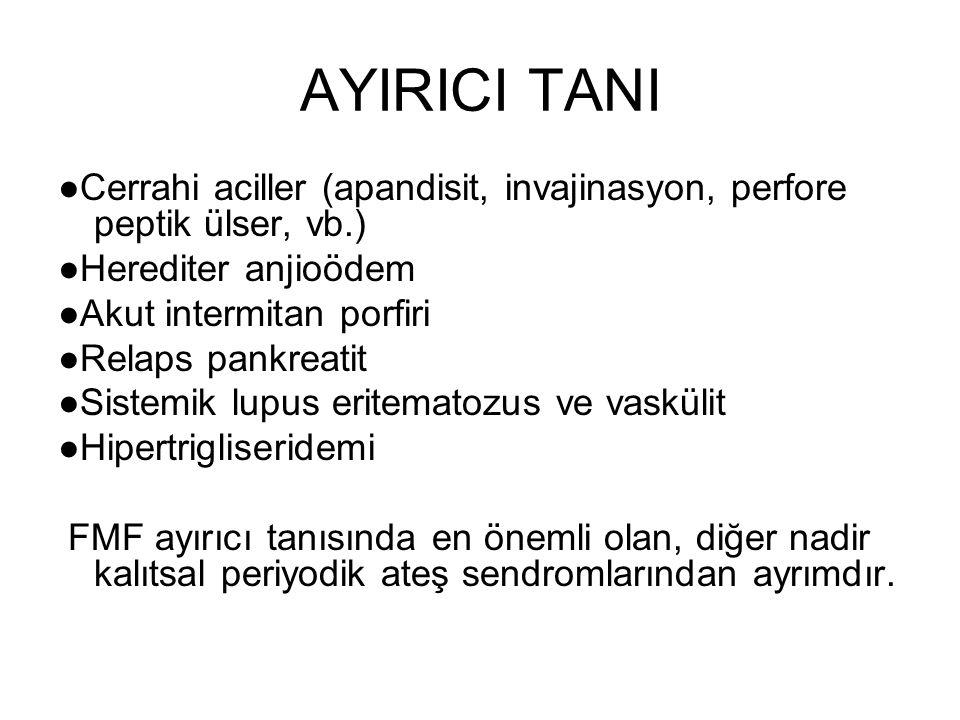 AYIRICI TANI ●Cerrahi aciller (apandisit, invajinasyon, perfore peptik ülser, vb.) ●Herediter anjioödem.