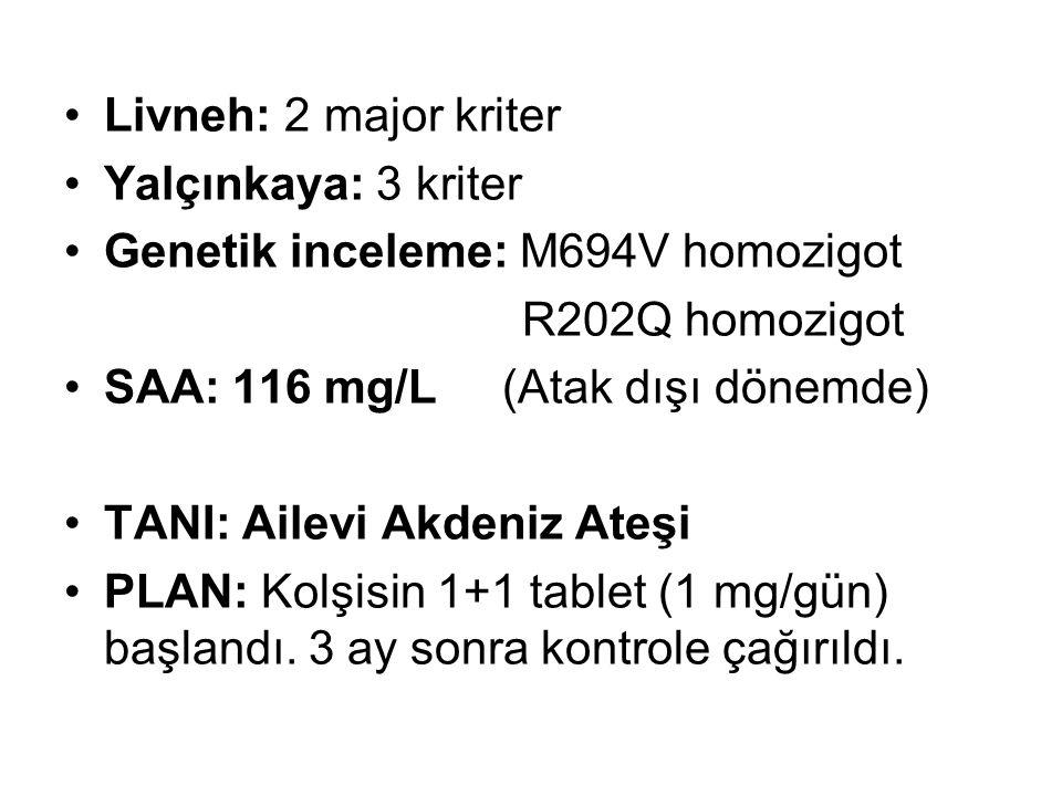 Livneh: 2 major kriter Yalçınkaya: 3 kriter. Genetik inceleme: M694V homozigot. R202Q homozigot. SAA: 116 mg/L (Atak dışı dönemde)