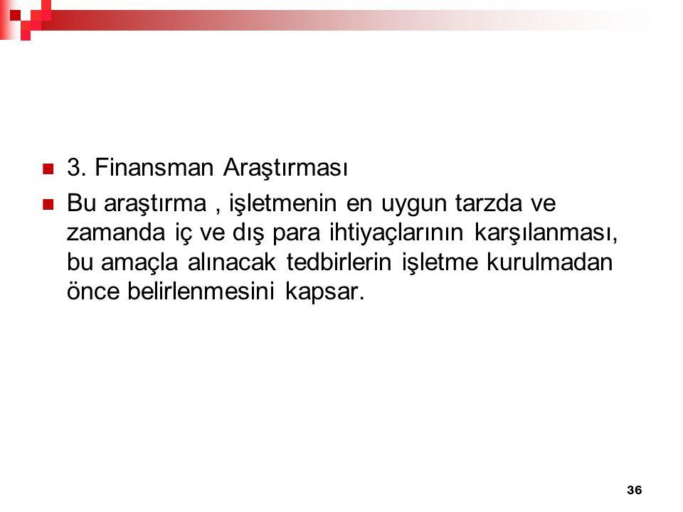 3. Finansman Araştırması