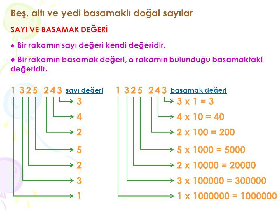 Beş, altı ve yedi basamaklı doğal sayılar