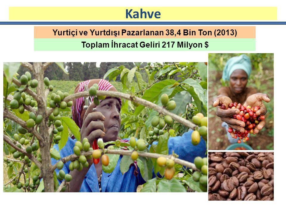 Kahve Yurtiçi ve Yurtdışı Pazarlanan 38,4 Bin Ton (2013)