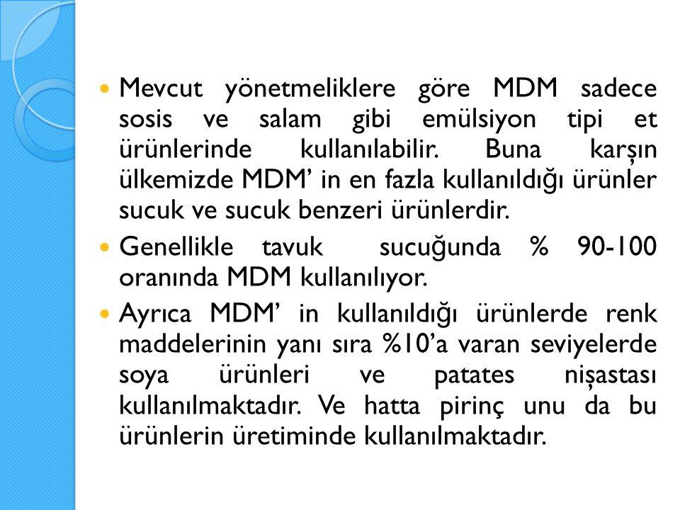Mevcut yönetmeliklere göre MDM sadece sosis ve salam gibi emülsiyon tipi et ürünlerinde kullanılabilir. Buna karşın ülkemizde MDM' in en fazla kullanıldığı ürünler sucuk ve sucuk benzeri ürünlerdir.