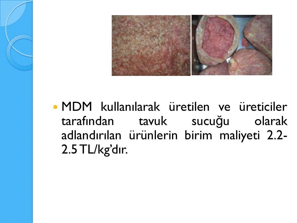 MDM kullanılarak üretilen ve üreticiler tarafından tavuk sucuğu olarak adlandırılan ürünlerin birim maliyeti 2.2-2.5 TL/kg'dır.