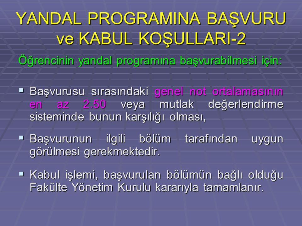 YANDAL PROGRAMINA BAŞVURU ve KABUL KOŞULLARI-2