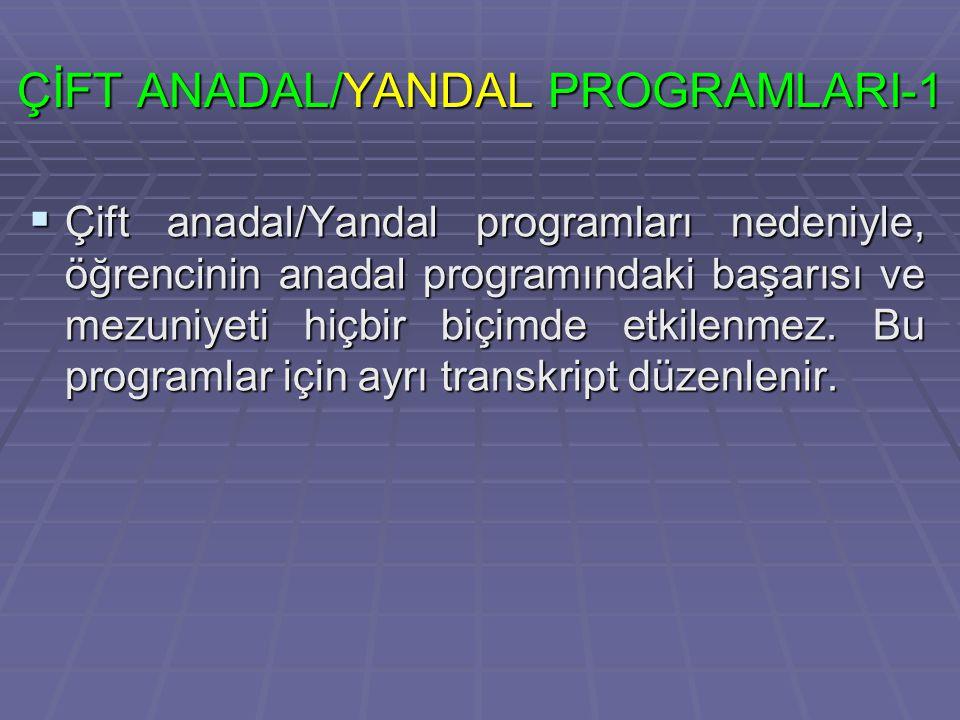 ÇİFT ANADAL/YANDAL PROGRAMLARI-1