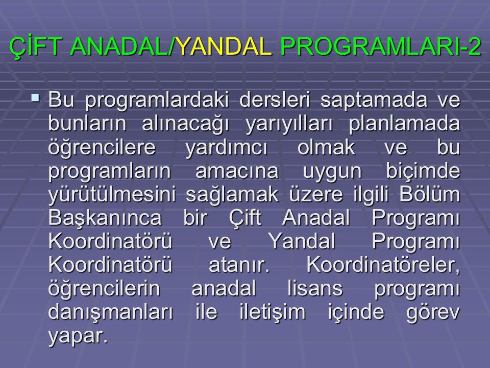 ÇİFT ANADAL/YANDAL PROGRAMLARI-2
