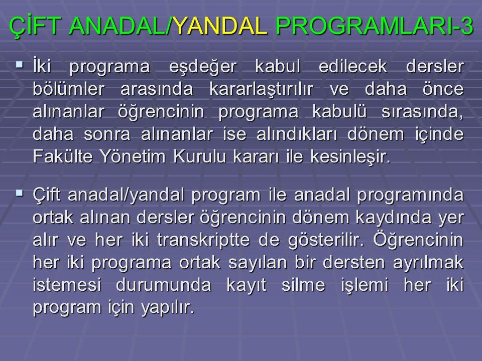 ÇİFT ANADAL/YANDAL PROGRAMLARI-3