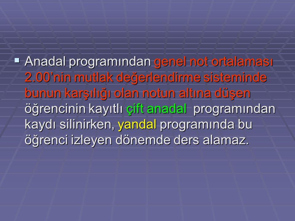 Anadal programından genel not ortalaması 2