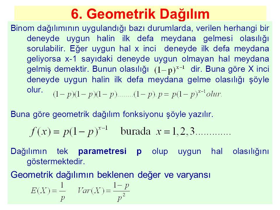 6. Geometrik Dağılım Geometrik dağılımın beklenen değer ve varyansı