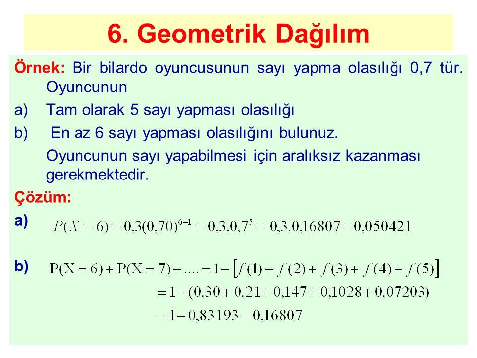 6. Geometrik Dağılım Örnek: Bir bilardo oyuncusunun sayı yapma olasılığı 0,7 tür. Oyuncunun. Tam olarak 5 sayı yapması olasılığı.