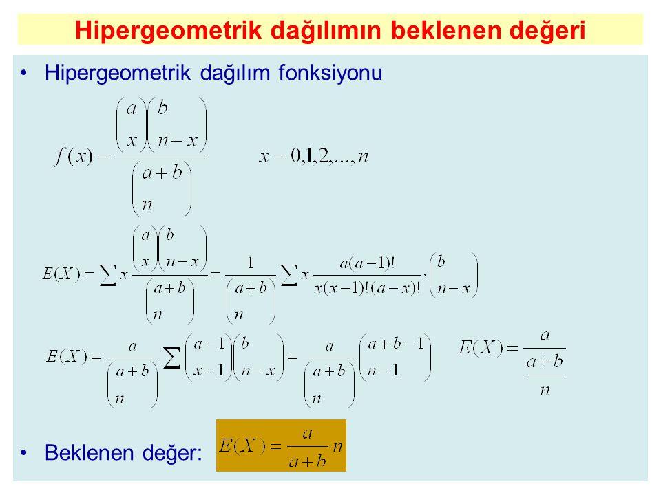 Hipergeometrik dağılımın beklenen değeri
