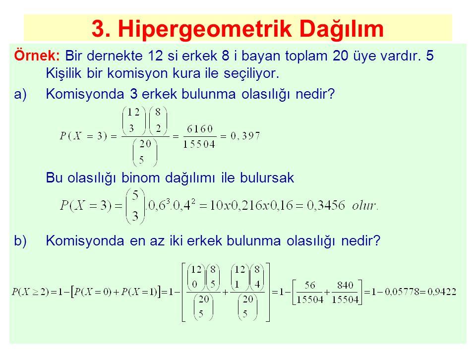 3. Hipergeometrik Dağılım