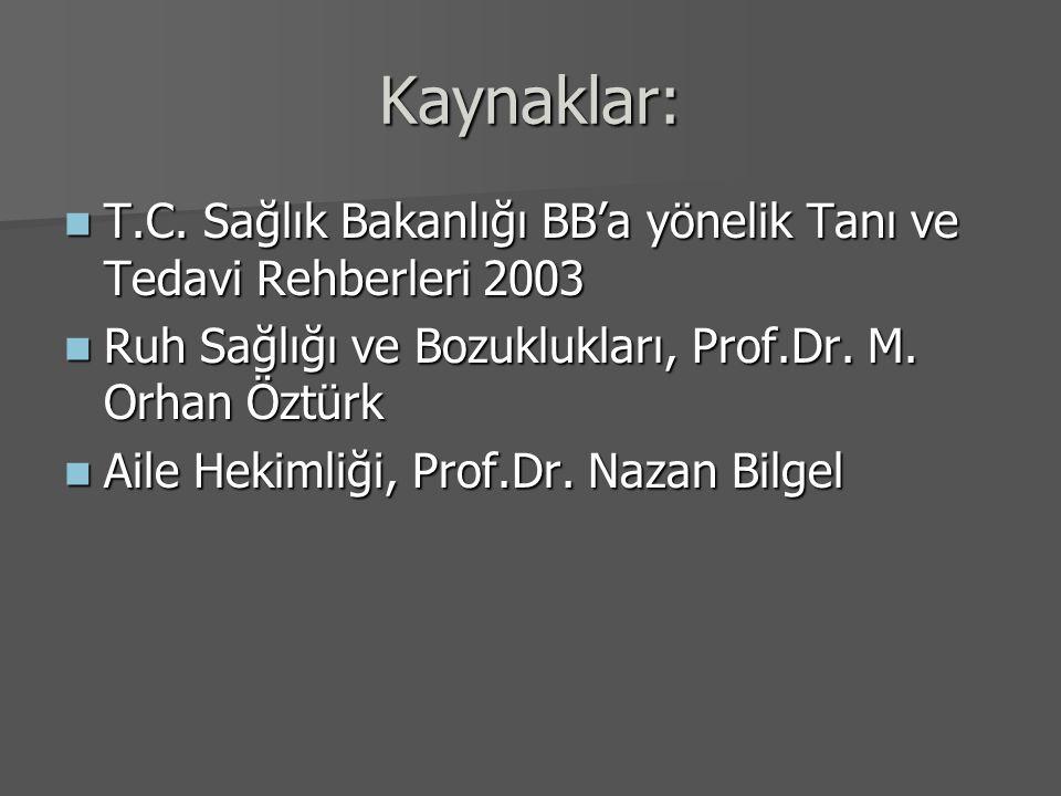Kaynaklar: T.C. Sağlık Bakanlığı BB'a yönelik Tanı ve Tedavi Rehberleri 2003. Ruh Sağlığı ve Bozuklukları, Prof.Dr. M. Orhan Öztürk.