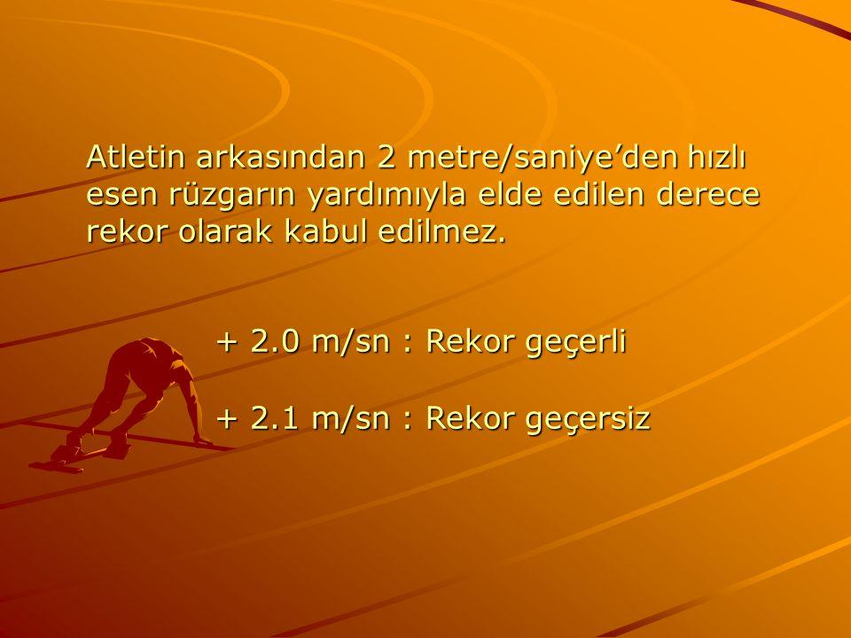 Atletin arkasından 2 metre/saniye'den hızlı esen rüzgarın yardımıyla elde edilen derece rekor olarak kabul edilmez.