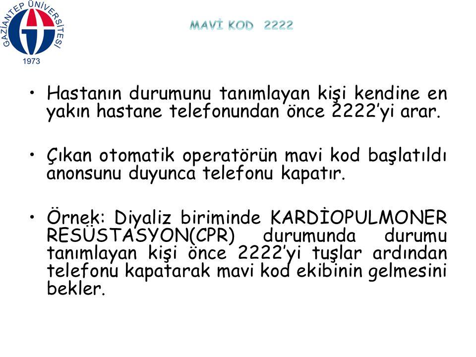 MAVİ KOD 2222 Hastanın durumunu tanımlayan kişi kendine en yakın hastane telefonundan önce 2222'yi arar.