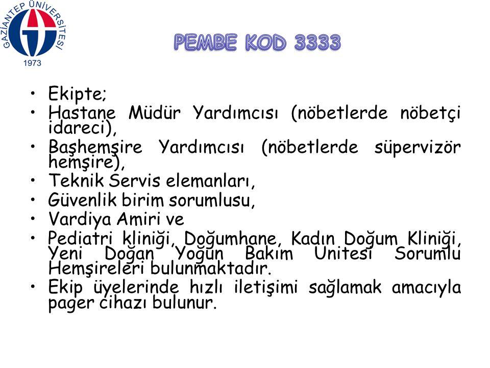 PEMBE KOD 3333 Ekipte; Hastane Müdür Yardımcısı (nöbetlerde nöbetçi idareci), Başhemşire Yardımcısı (nöbetlerde süpervizör hemşire),