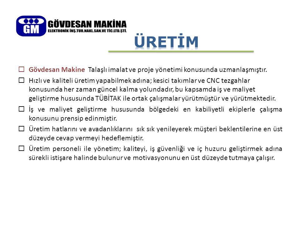 ÜRETİM Gövdesan Makine Talaşlı imalat ve proje yönetimi konusunda uzmanlaşmıştır.