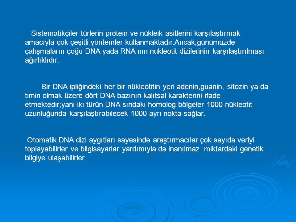 Sistematikçiler türlerin protein ve nükleik asitlerini karşılaştırmak amacıyla çok çeşitli yöntemler kullanmaktadır.Ancak,günümüzde çalışmaların çoğu DNA yada RNA nın nükleotit dizilerinin karşılaştırılması ağırlıklıdır.
